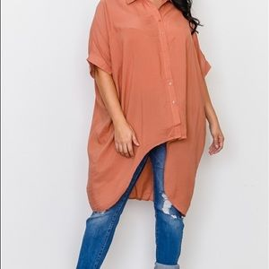 New Plus Size High Low Button Down Blouse